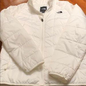North Face white down liner coat